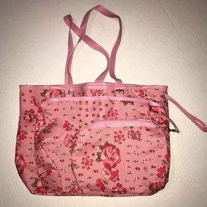 Pink Floral Tote with Makeup Pouch and Coin Pouch